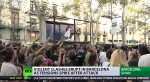 Gewelddadige demonstraties na terreuraanslag Barcelona