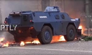 Beelden van demonstraties in Frankrijk