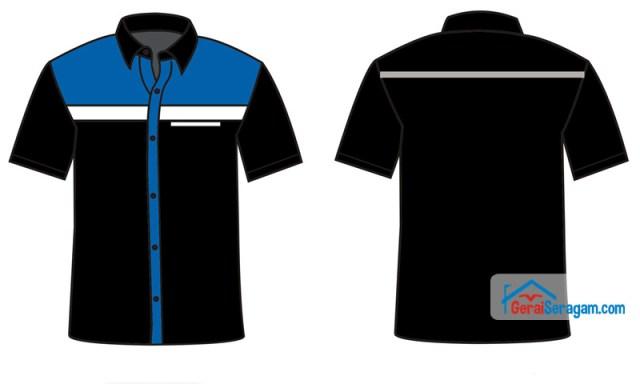desain seragam biru hitam