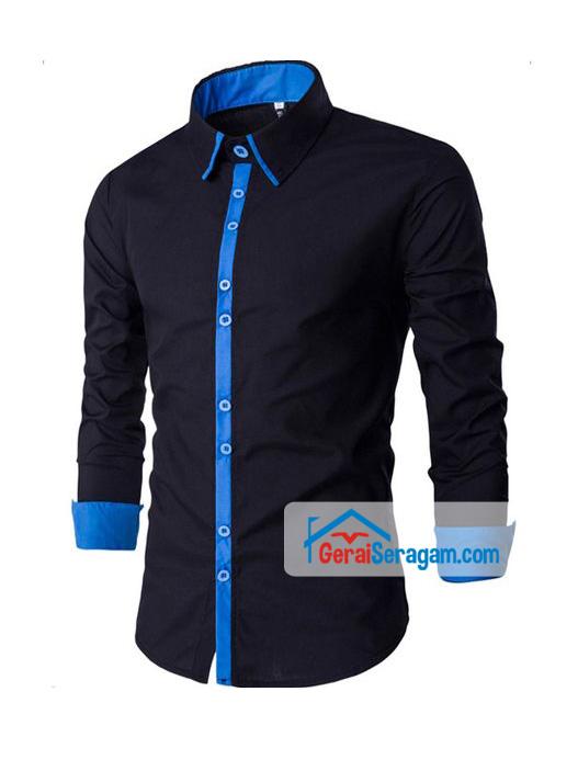 baju kemeja hitam biru