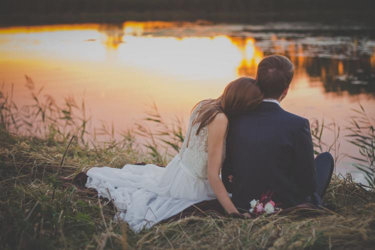 Wedding couple with sunset love romantic