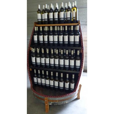 presentoir a bouteilles sur base d une tonne en chene de 500l gerard busin