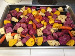 Roasted purple sweet potatoes and root vegetables