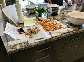 Prepping the chanterelles