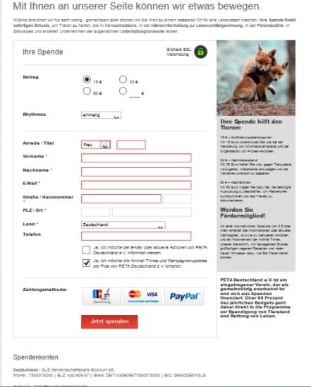 So sieht der Spendenaufruf von PeTA aus / Screenshot durch Gerati.de