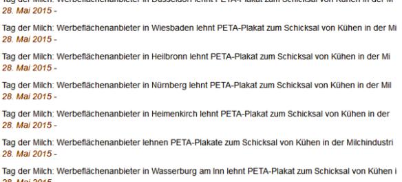 Screenshot PeTA Deutschland Pressemitteilung
