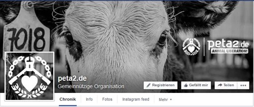 PeTA2 Logo, auf Facebook Screenshot: https://www.facebook.com/petazwei/?fref=ts