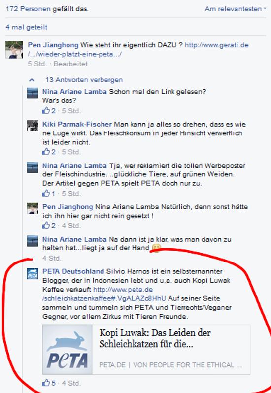 Screenshot PeTA Facebook-Seite