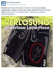 Lederlose Lederhose im Jagdlook verlost von PeTA / Screenshot Facebook Seite PeTA
