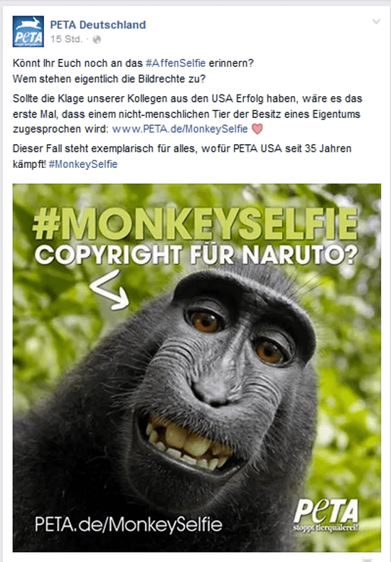 Screenshot PeTA Facebook Seite 24.09.2015