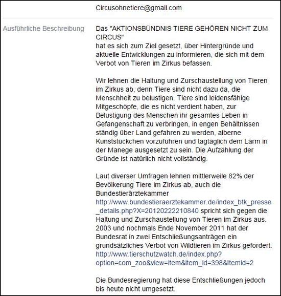 """Die """"Ausführliche Beschreibung"""" der FB-Seite, die hier behauptet, bloß """"informieren"""" zu wollen I."""