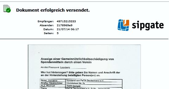 Kopi des Sendeberichtes an dass Finanzamt Leonberg