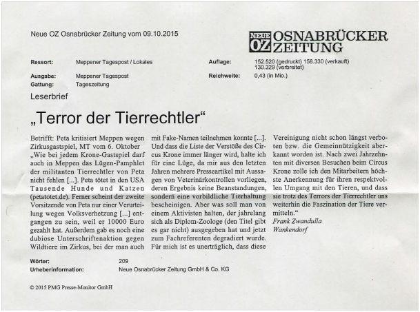 Veröffentlichter Leserbrief in der Osnabrücker Zeitung vom 09.10.2015