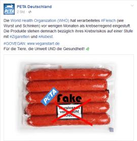 Screenshot PeTA Facebook Seite, als Fakemeldung durch Gerati.de entlarvt