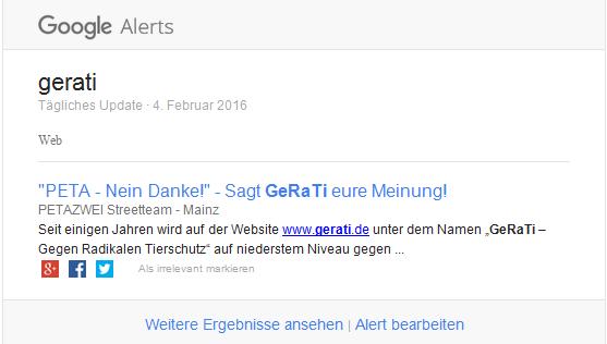 Google Alam ein sehr gutes Tool um bei Suchbegriffen auf dem laufenden zu bleiben