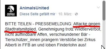 Screenshot Facebook Animals United