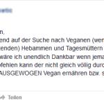 Nicht-Vegan lebende Hebammen könnten Babys verseuchen???