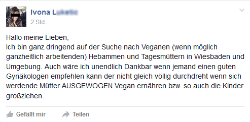 Screenshot Facebook Seite Frankfurt Vegan