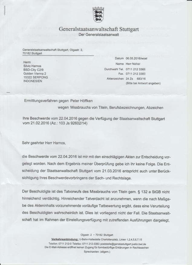 Antwort Generalstaatsanwaltschaft - Ablehnung der Beschwerde Seite 1