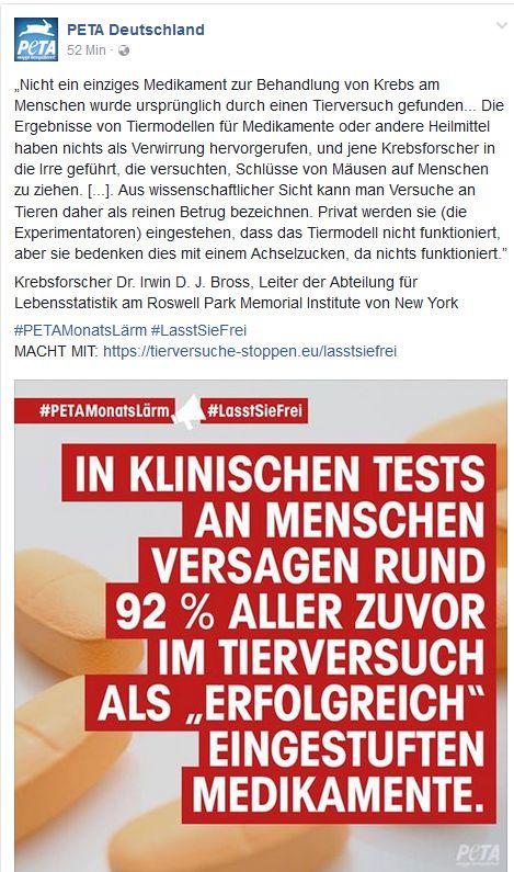 PeTA Lügen über Tierversuche / Screenshot Facebook PeTA Deutschland