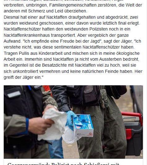 Tierrechtler verhöhnen getöteten Polizisten / Screenshot Facebook 21.10.2016