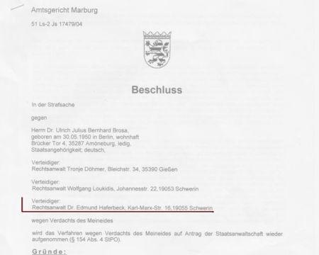 Edmund Haferbeck als Rechtsanwalt aufgetreten