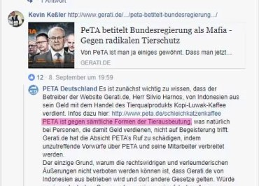 Screenshot PeTA Facebook-Seite - Antwort von PeTA auf einen GERATI Artikel