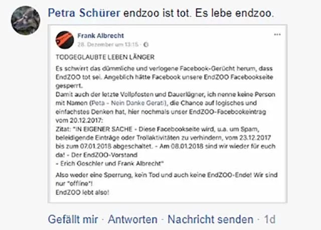 Stupide Stellungnahme von EndZoo (6) / Screenshoot Facebook (PeTA - Nein Danke)