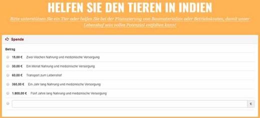 PeTA Spendenaufruf auf der Seite animalrahat.peta.de