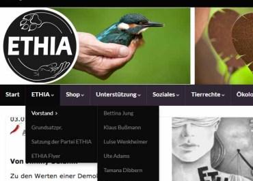 Simon Fischer fliegt aus dem Vorstand der ETHIA Partei / Screenshot ethia.de