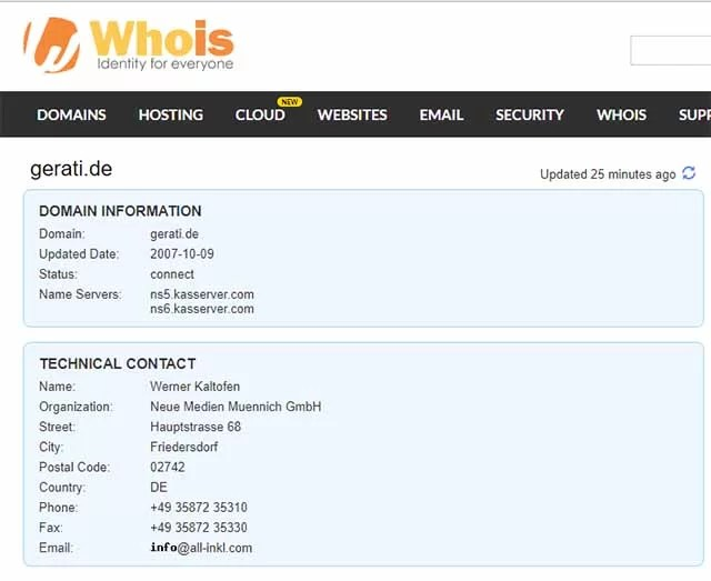 Screenshot: whois.com