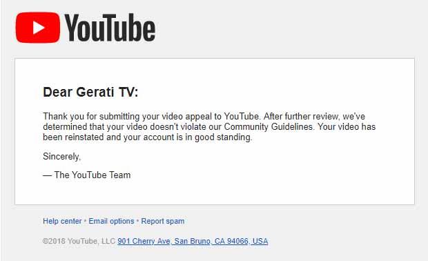 Youtube hebt Sperre des Videos auf