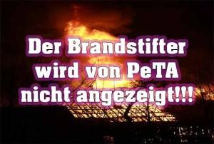 PeTA zieht Strafanzeige zurück - Brandstifter wird von PeTA nicht angezeigt