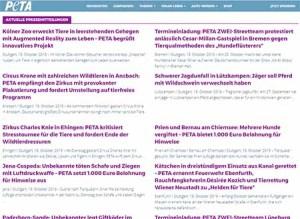 Screenshot Peta Pressemitteilungen