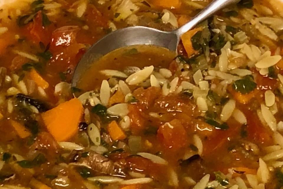 dikke vegetarische Orzo soep