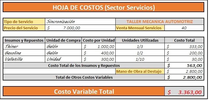 Costos Variables Sector Servicios