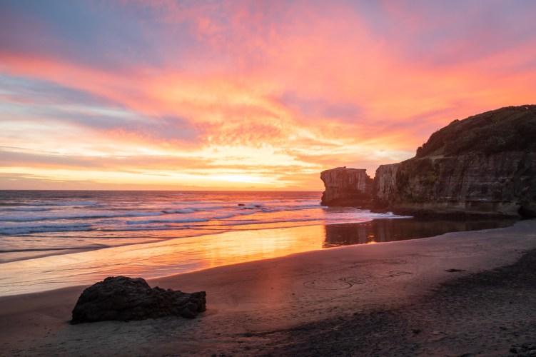 Sonnenuntergang am Muriwai Beach
