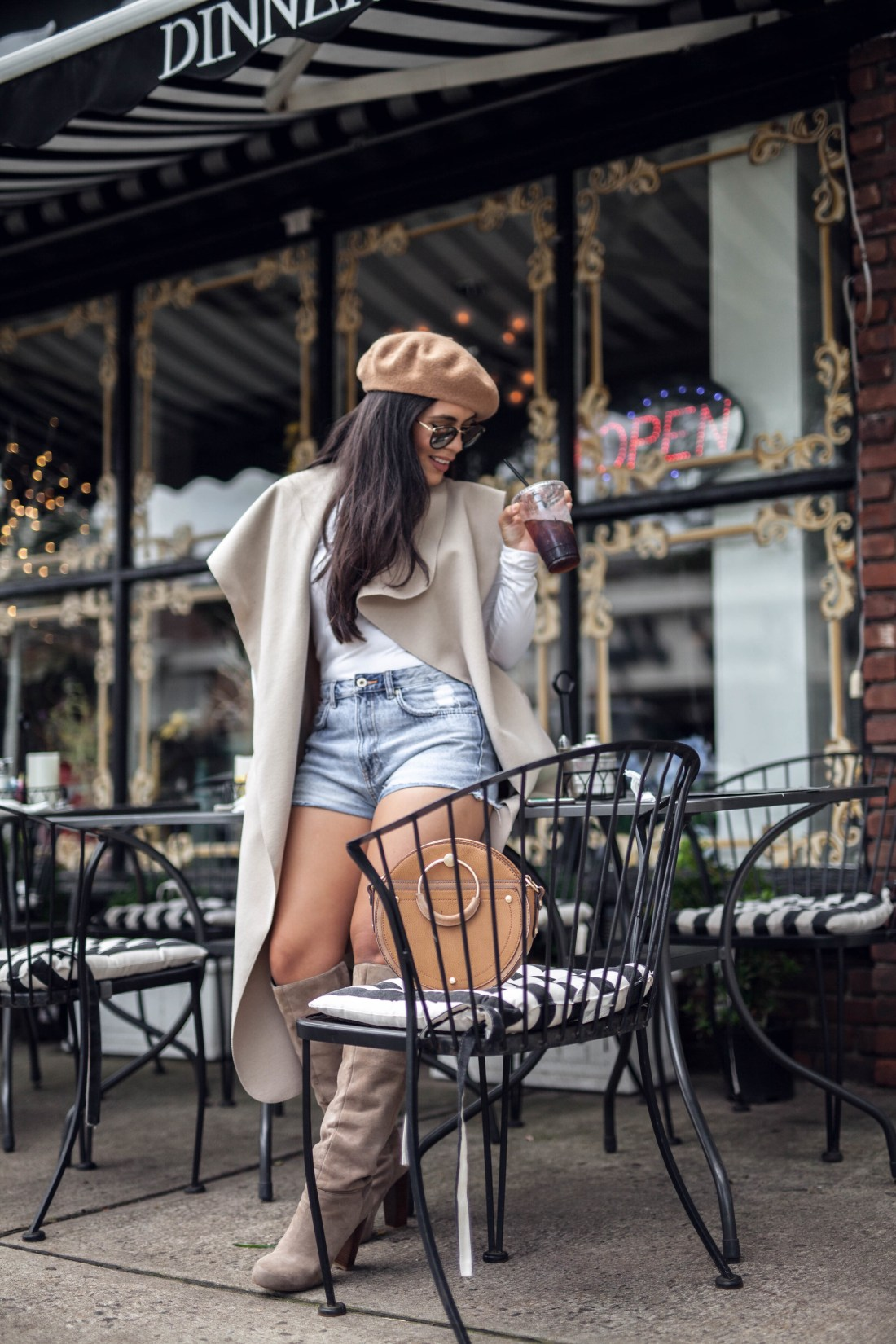 A Blogger Photo Shoot on how to wear shorts in the fall