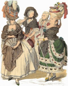 French Headdresses and Fashions (between 1774 and 1780) and a Woman with a Pleated Fan, Author's Collection