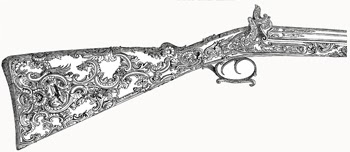 Engraved Gun-stock created by M. Tourey of Liége. Carved and Inlaid With  Gold, Silver and Platina in the Enriched Style of Louis XIV. Author's Collection
