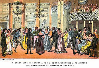 "Almack's Assembly Rooms the Highest Life in London. Tom and Jerry ""Sporting a Toe"" Among the Corinthians at Almack's in the West, Public Domain"