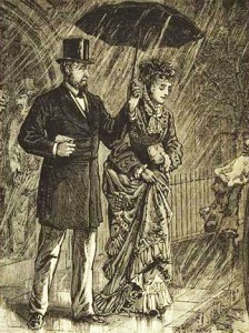 Offering an Umbrella in the Rain, Courtesy of New York Public Library