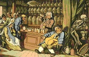 Thomas Rowlandson's Death and The Apothecary or the Quack Doctor, Courtesy of Wellcome Images