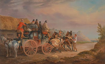 Mail Coaches on the Road: The `Quicksilver' Devonport-London Royal Mail about to start with a new team (The Devonshire to London Coach) by Charles Cooper Henderson, Courtesy of Wikipedia