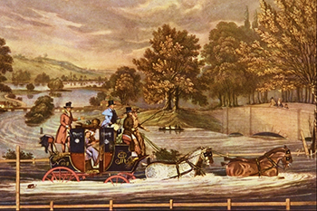 Mail coaches and through the flood by James Pollard, Courtesy of the Wikipedia