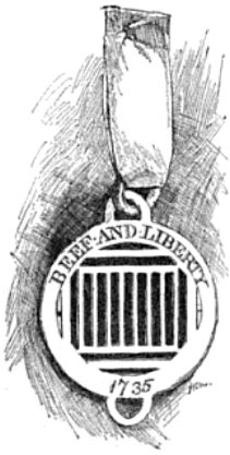 Ribbon and badge of the Sublime Society of Beef Steaks.