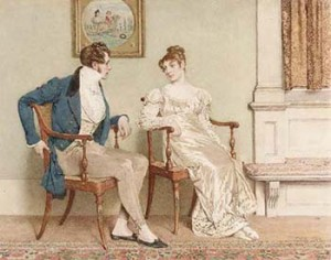 Victorian Depiction of Courtship in early 1800s, Courtesy of Wikipedia
