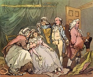 The Dying Patient or Doctor's Last Fee by Thomas Rowlandson, Public Domain