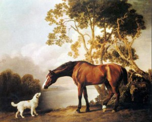 Bay Horse and White Dog, Circa Early 1800s by George Stubbs, Public Domain