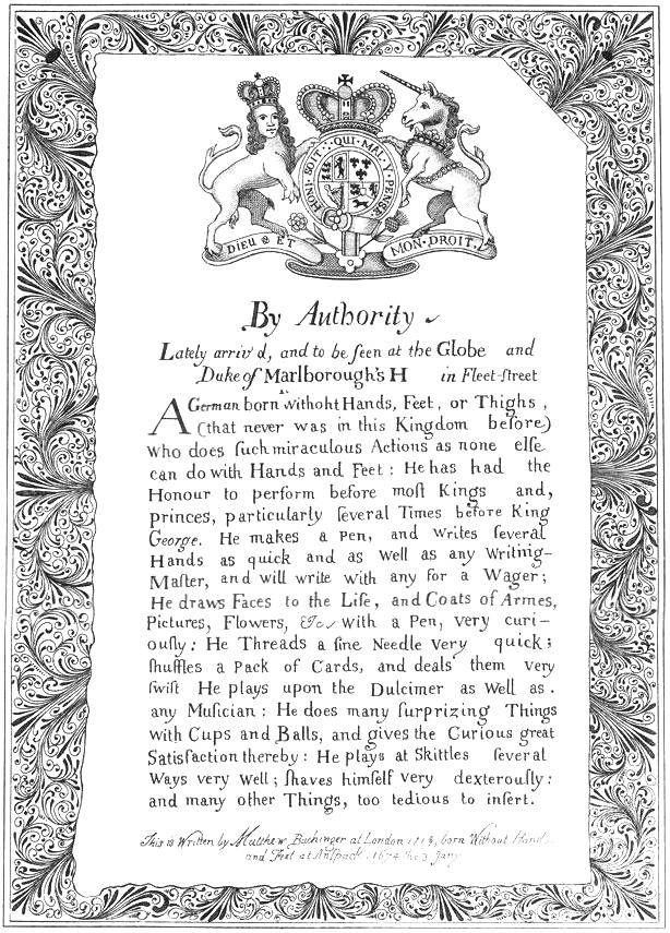 Facsimile of Notice of Buchinger's Exhibition in London, Public Domain